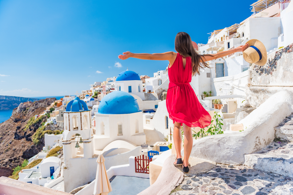 Girl in Greece traveling on a vacation loan